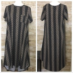 LULAROE Carly Black and Brown Chevron Print Dress